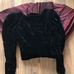 80s 90s black velvet and taffeta wine  prom dress